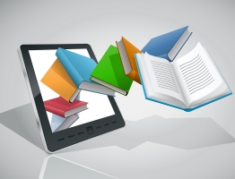 e-books flying out of a tablet