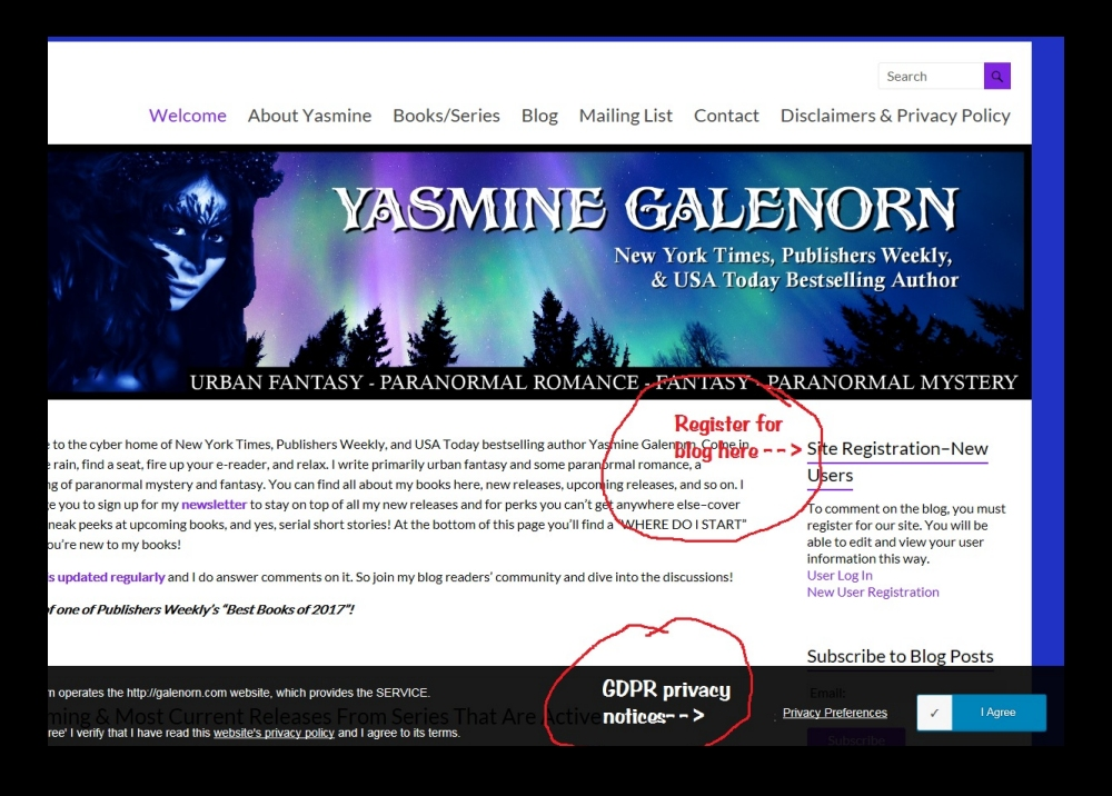 Blog subscription screenshot