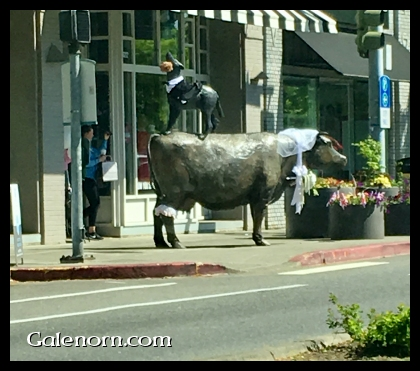 Coyote standing on a cow--huge sculpture, wearing tux and wedding veil