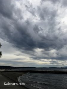 Lake Washington, under a heavy army of clouds