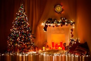 Decorated tree and mantel