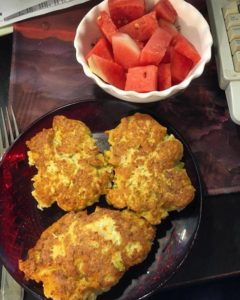 chicken cakes and watermelon