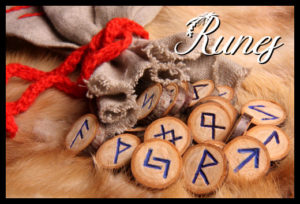 runes with pouch close-up