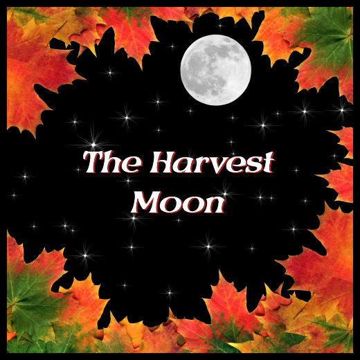 Harvest moon surrounded by autumn leaves
