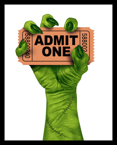 Monster hand holding movie ticket.
