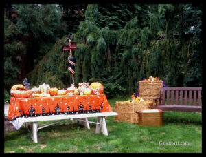 my pumpkinscape--pumpkins and gourds arranged on the picnic table with a Halloween tablecloth