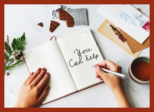 You Can Help Others, woman writing in a journal