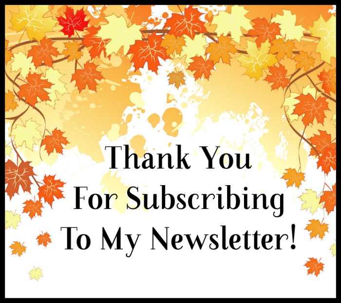 Thank you for subscribing to my newsletter