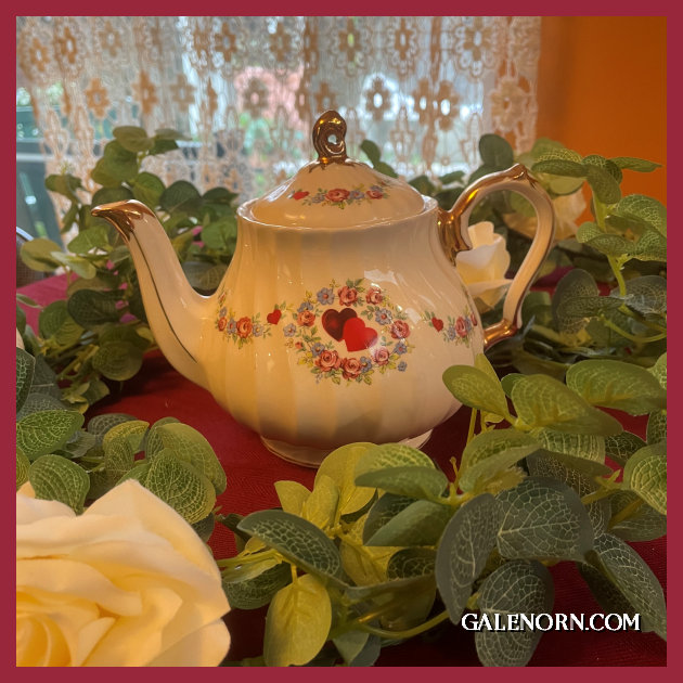 China teapot with hearts on it