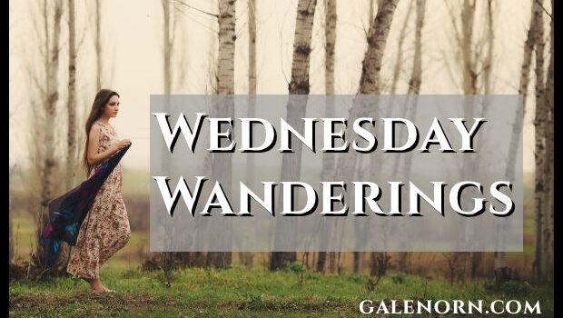 Woman wandering through birch/alder forest.