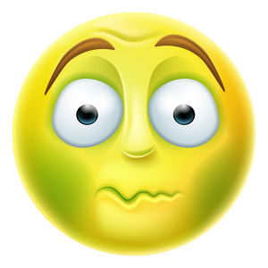 Sick looking green emoji emoticon nauseated or about to vomit