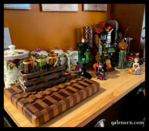 rolling island with colored bottles, autumn faeries, pumpkin bobblehead