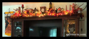 Top of the hutch--garlands, gund bears with autumn ribbons, Autumn faerie